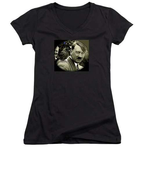 Adolf Hitler And A Feathered Friend C.1941-2008 Women's V-Neck T-Shirt (Junior Cut) by David Lee Guss