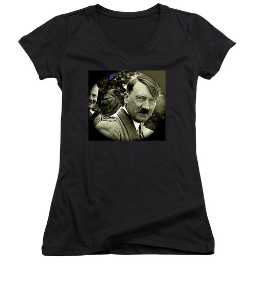 Adolf Hitler And A Feathered Friend C.1941-2008 Women's V-Neck
