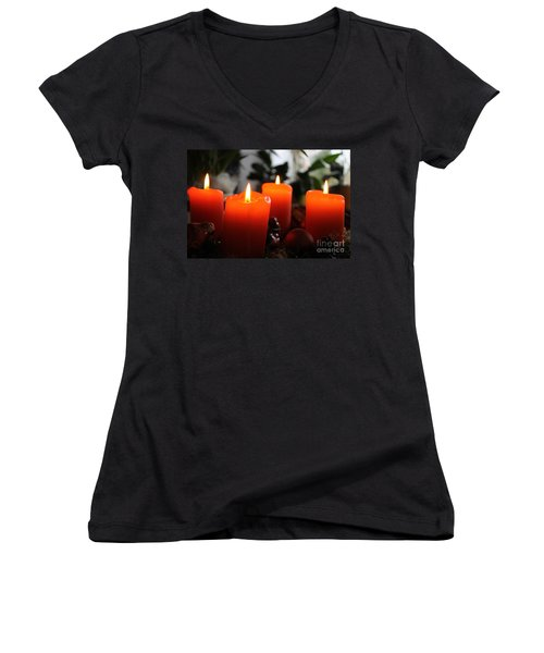 Women's V-Neck T-Shirt (Junior Cut) featuring the photograph Advent Candles Christmas Candle Light by Paul Fearn