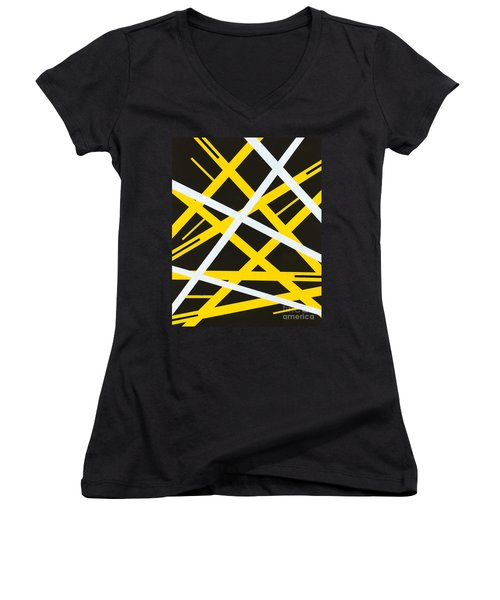 Women's V-Neck T-Shirt (Junior Cut) featuring the painting Aeons by Roz Abellera Art