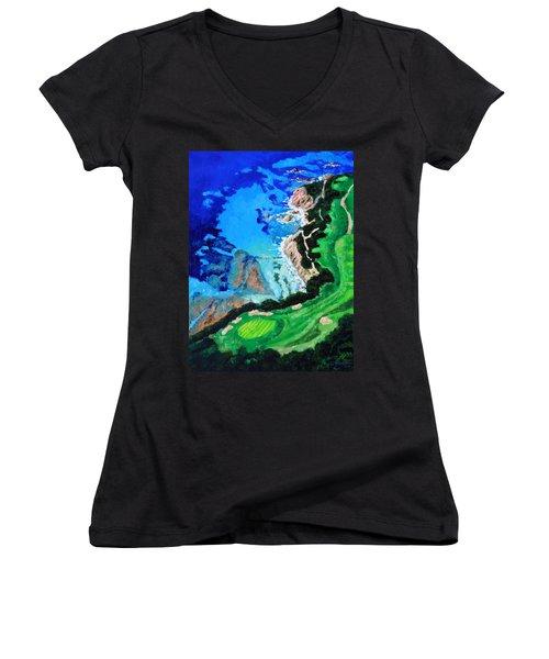 Aerial View Of Pebble Beach Women's V-Neck T-Shirt (Junior Cut) by John Lautermilch