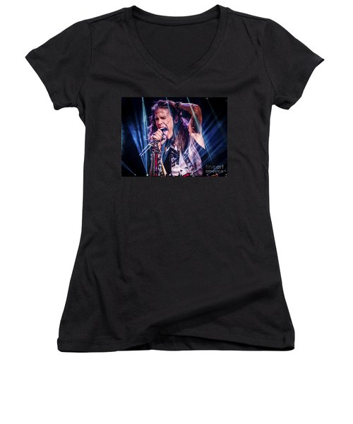 Aerosmith Steven Tyler Singing In Concert Women's V-Neck T-Shirt (Junior Cut) by Jani Bryson