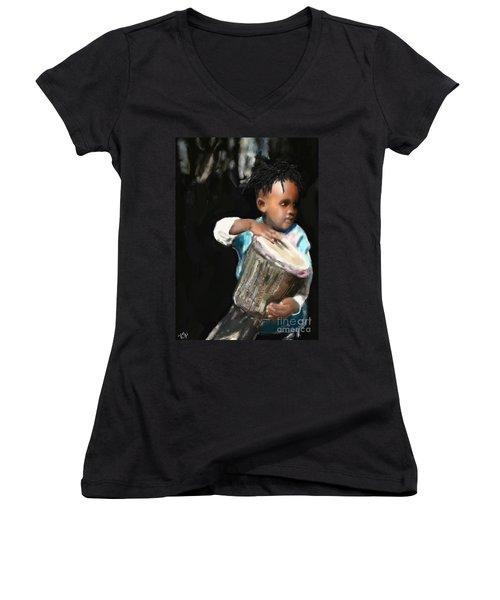 African Drummer Boy Women's V-Neck T-Shirt (Junior Cut) by Vannetta Ferguson