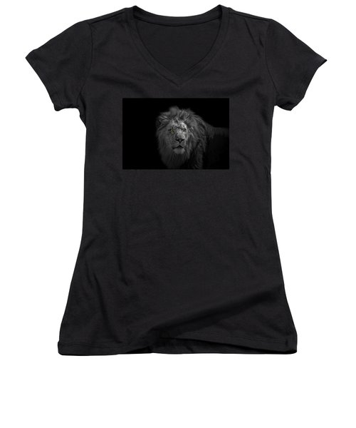 Women's V-Neck T-Shirt (Junior Cut) featuring the photograph African Lion by Peter Lakomy