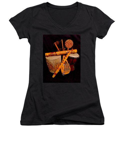 African Musical Instruments Women's V-Neck T-Shirt