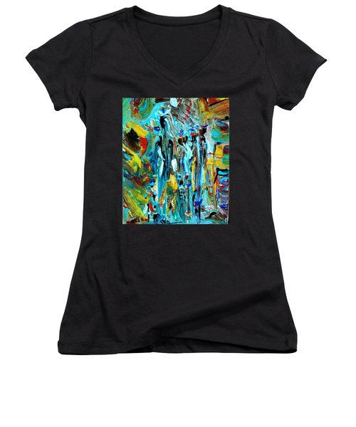 African Tribe Festivals Women's V-Neck T-Shirt (Junior Cut) by Kelly Turner