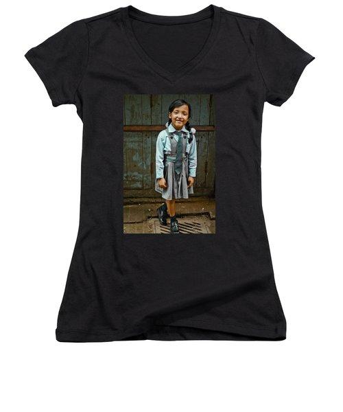 After School Pose Women's V-Neck T-Shirt (Junior Cut) by Valerie Rosen