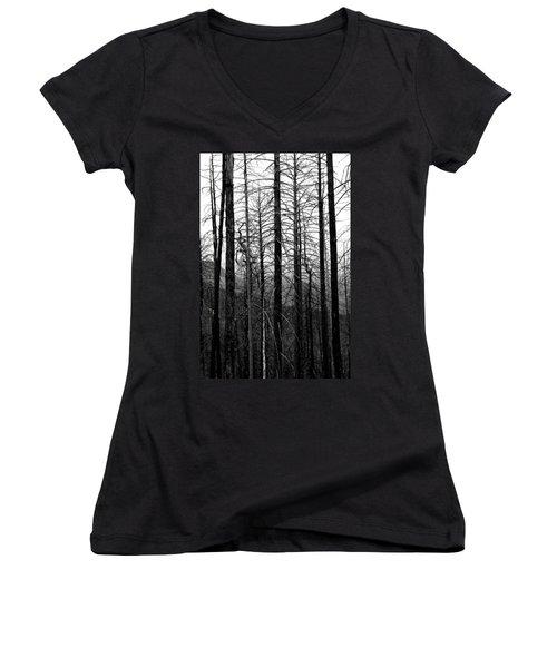 After The Fire Women's V-Neck T-Shirt (Junior Cut) by Joe Kozlowski