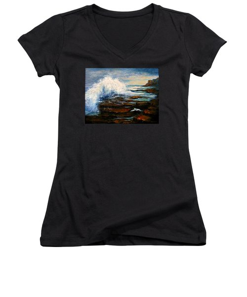 Women's V-Neck T-Shirt (Junior Cut) featuring the painting After The Storm by Gail Kirtz