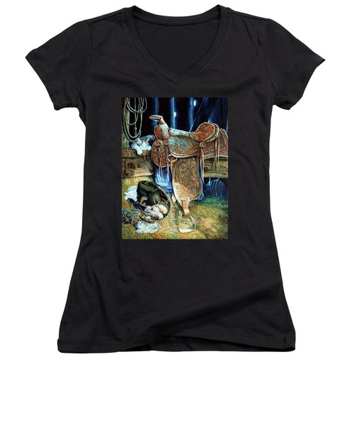 Women's V-Neck (Athletic Fit) featuring the painting Afternoon Delight by Hanne Lore Koehler