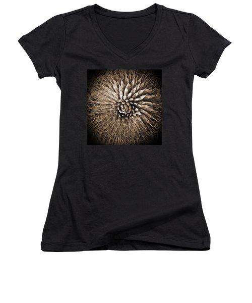 Agave Spikes Sepia Women's V-Neck T-Shirt