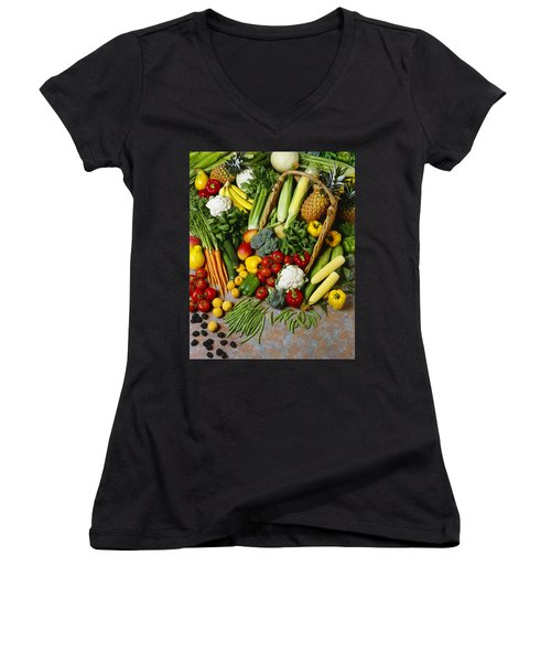 Agriculture - Mixed Fruit Women's V-Neck (Athletic Fit)