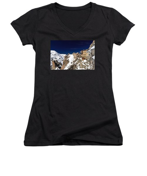 Aiguille Du Midi -  Mont Blanc Massif Women's V-Neck T-Shirt (Junior Cut) by Antonio Scarpi
