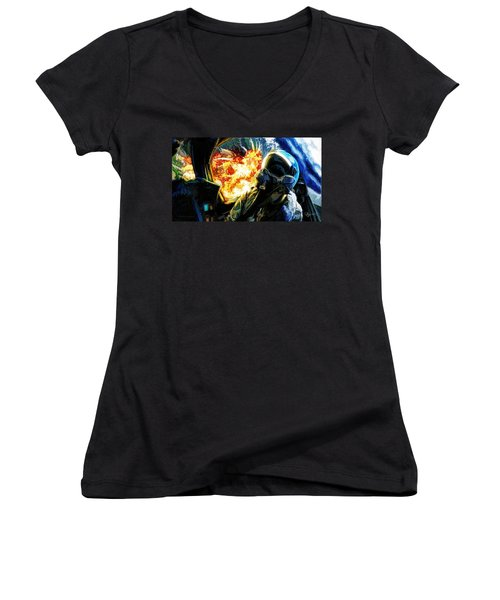Women's V-Neck T-Shirt (Junior Cut) featuring the painting Air To Ground by Dave Luebbert