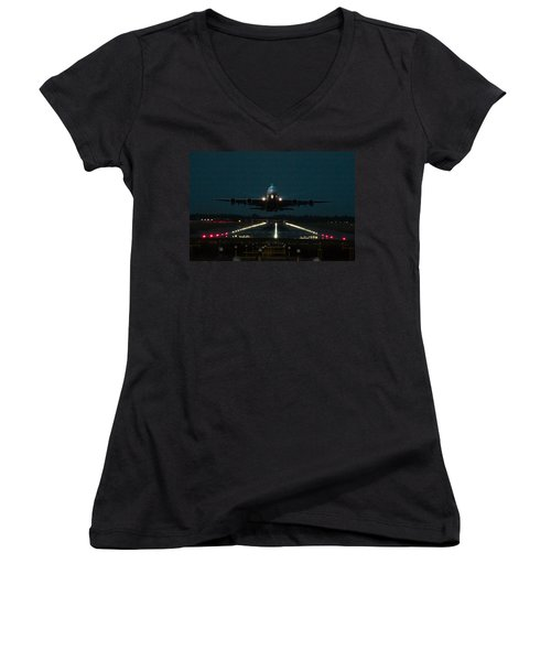 Airbus A380 Take-off At Dusk Women's V-Neck T-Shirt (Junior Cut) by Tim Beach