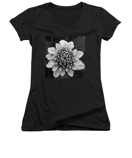 Ala Mode Dahlia In Black And White Women's V-Neck (Athletic Fit)