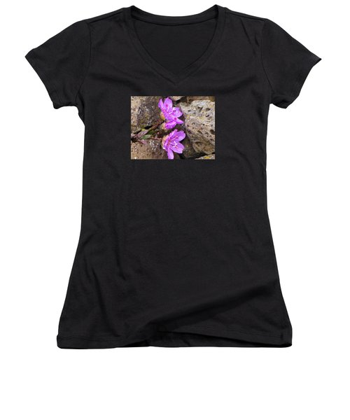 Women's V-Neck T-Shirt (Junior Cut) featuring the photograph Alaskan Wildflower by Julie Andel