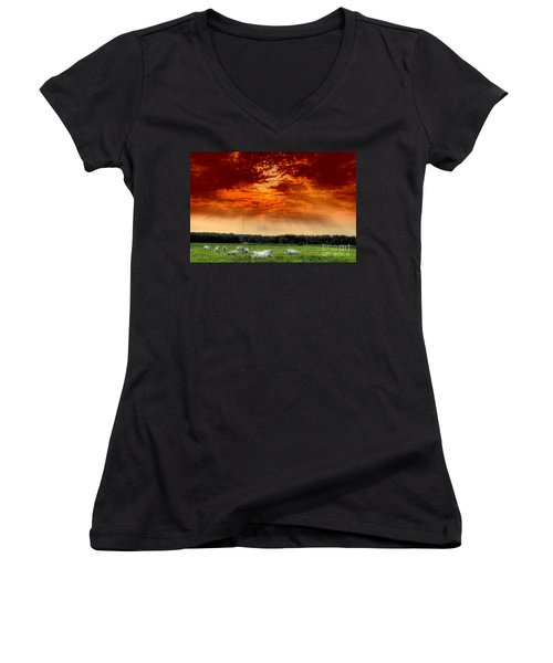 Women's V-Neck T-Shirt (Junior Cut) featuring the photograph Alberta Canada Cattle Herd Hdr Sky Clouds Forest by Paul Fearn