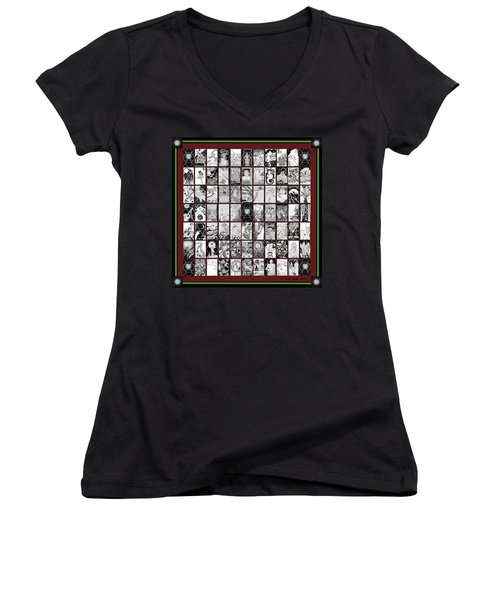 Women's V-Neck T-Shirt (Junior Cut) featuring the painting Album Quilt Subdued by Carol Jacobs