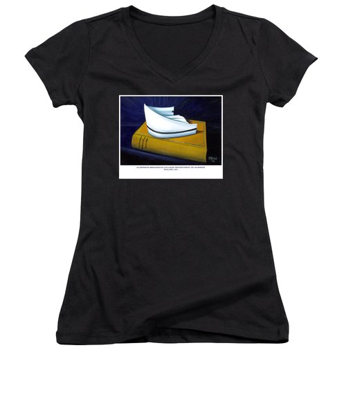 Women's V-Neck T-Shirt (Junior Cut) featuring the painting Alderson-broaddus College by Marlyn Boyd