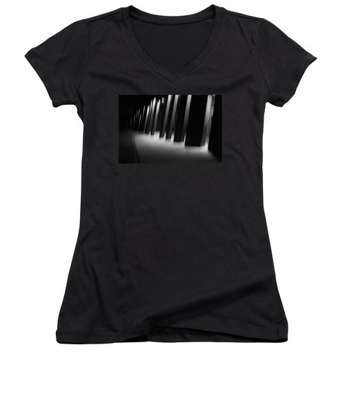 Women's V-Neck T-Shirt (Junior Cut) featuring the photograph Alien Medical Research Center by Alex Lapidus