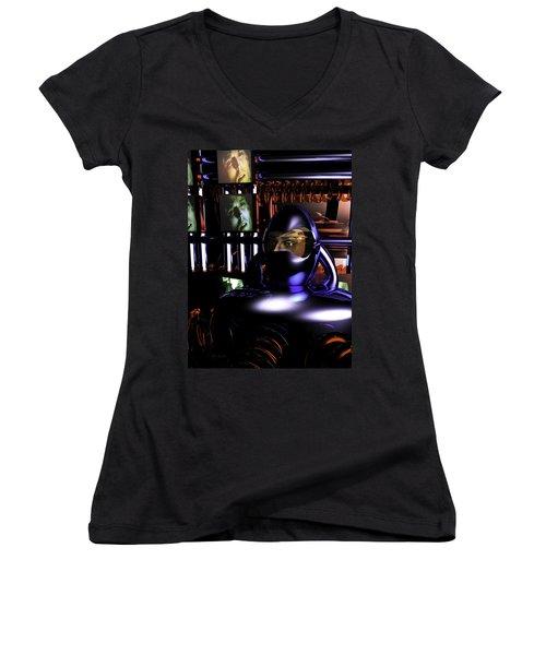 Alien Mind Control Women's V-Neck T-Shirt (Junior Cut) by Bob Orsillo
