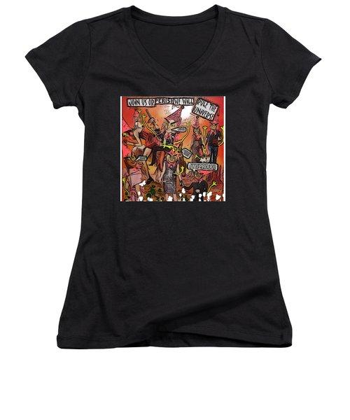 Alien Nation Women's V-Neck T-Shirt (Junior Cut) by Lisa Piper Menkin Stegeman