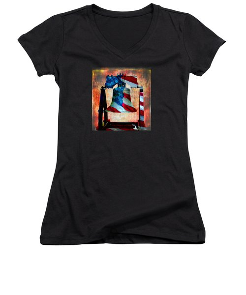 Liberty Bell Art Smooth All American Series Women's V-Neck T-Shirt (Junior Cut) by Lesa Fine