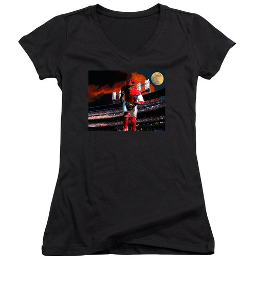 All Star Yadier Molina Women's V-Neck T-Shirt (Junior Cut) by John Freidenberg