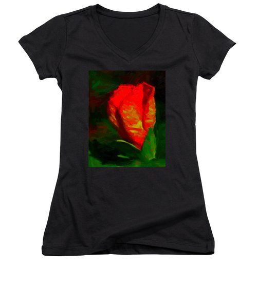 Women's V-Neck T-Shirt (Junior Cut) featuring the painting All Went Wrong by Joe Misrasi