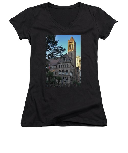 Women's V-Neck T-Shirt (Junior Cut) featuring the photograph Allegheny County Courthouse by Steven Richman
