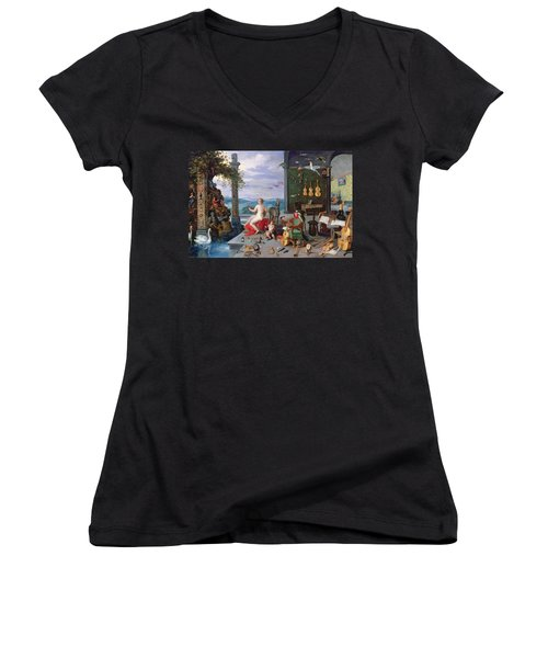 Allegory Of Music Oil On Canvas Women's V-Neck (Athletic Fit)