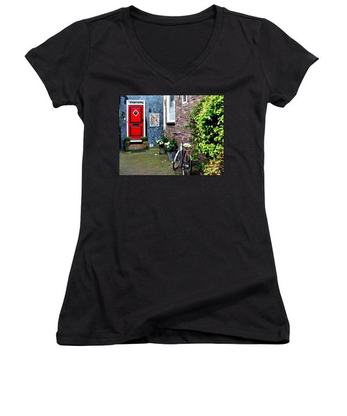 Women's V-Neck T-Shirt (Junior Cut) featuring the photograph Alleyway In Dutch Village by Joe  Ng