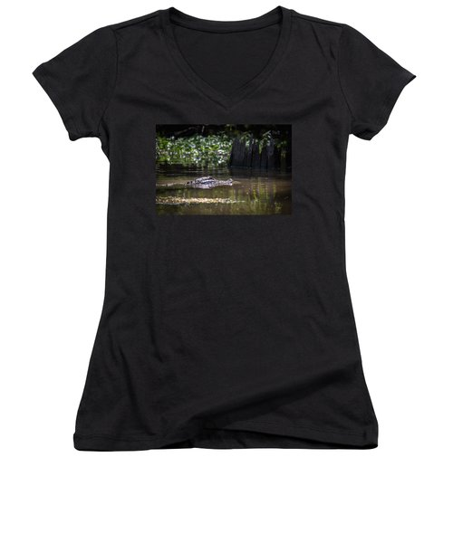 Alligator Swimming In Bayou 2 Women's V-Neck (Athletic Fit)