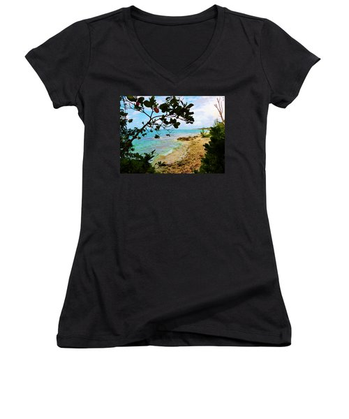 Women's V-Neck T-Shirt (Junior Cut) featuring the photograph Almond View by Amar Sheow