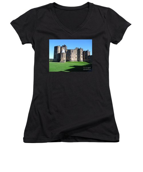 Women's V-Neck T-Shirt (Junior Cut) featuring the photograph Alnwick Castle Castle Alnwick Northumberland by Paul Fearn