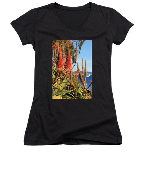 Aloe Vera Bloom Women's V-Neck T-Shirt