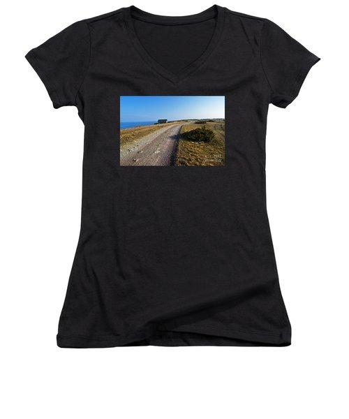 Women's V-Neck T-Shirt (Junior Cut) featuring the photograph Along The Coast Of Baltic Sea by Kennerth and Birgitta Kullman