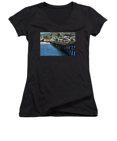 Women's V-Neck T-Shirt (Junior Cut) featuring the photograph Along The Pier by Michael Gordon