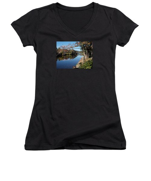 Along The River In Shelbourne Falls Women's V-Neck T-Shirt