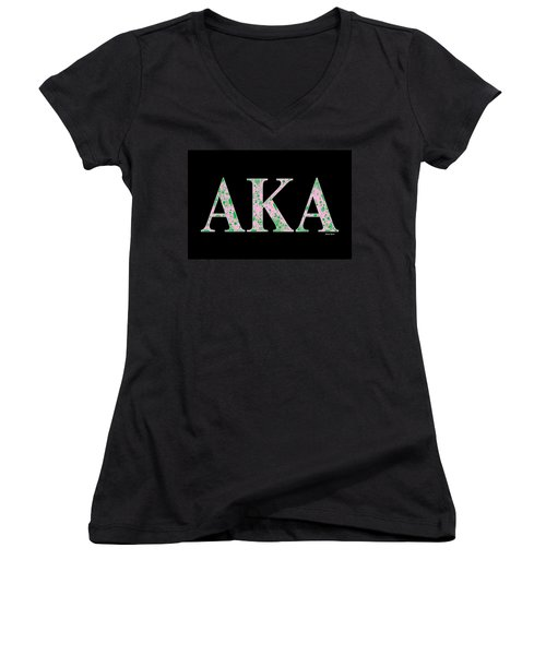 Alpha Kappa Alpha - Black Women's V-Neck (Athletic Fit)