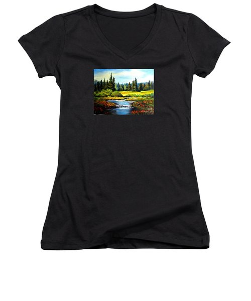 Women's V-Neck T-Shirt (Junior Cut) featuring the painting Alpine Meadow by Hazel Holland