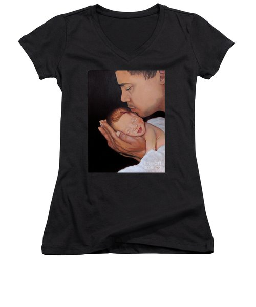 Always In His Heart And In His Hands Women's V-Neck T-Shirt (Junior Cut) by Marlene Book