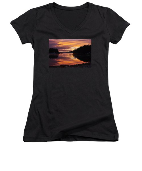 Amalga Harbor Sunset Women's V-Neck T-Shirt