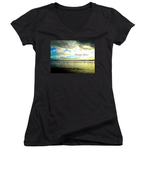 Amazing Grace Sunrise 2 Women's V-Neck T-Shirt