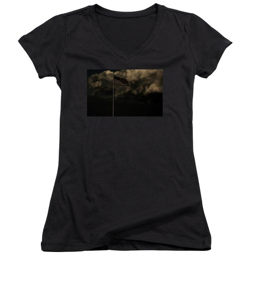 Women's V-Neck T-Shirt (Junior Cut) featuring the photograph America....... by Jessica Shelton