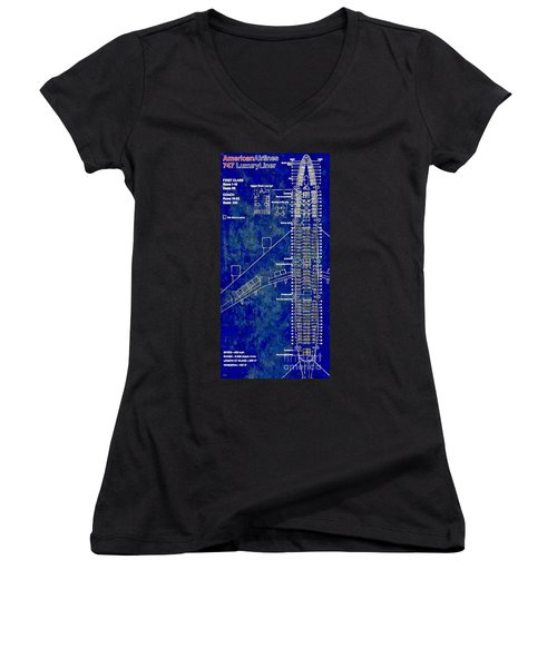 American Airlines 747 Women's V-Neck T-Shirt (Junior Cut) by Daniel Janda