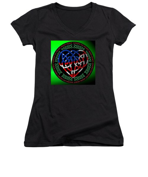 Women's V-Neck T-Shirt (Junior Cut) featuring the digital art American Celtic Heart by Ireland Calling