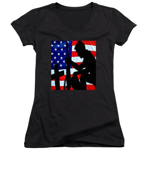 A Time To Remember American Flag At Rest Women's V-Neck T-Shirt (Junior Cut) by Bob Orsillo