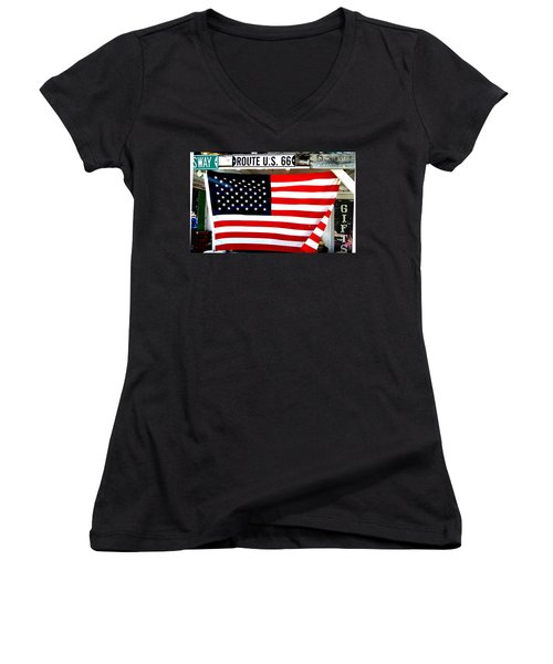 American Flag Route 66 Women's V-Neck (Athletic Fit)